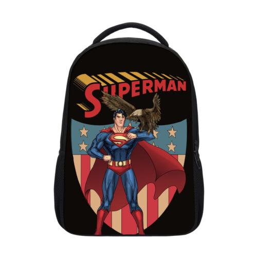 Cool Superman Kids Boys Large Travel Backpack Superhero Bookbag Sachel Rucksack
