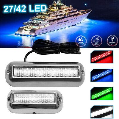 80W Stainless Steel 42 LED White Underwater Pontoon Marine Boat Transom Light UK