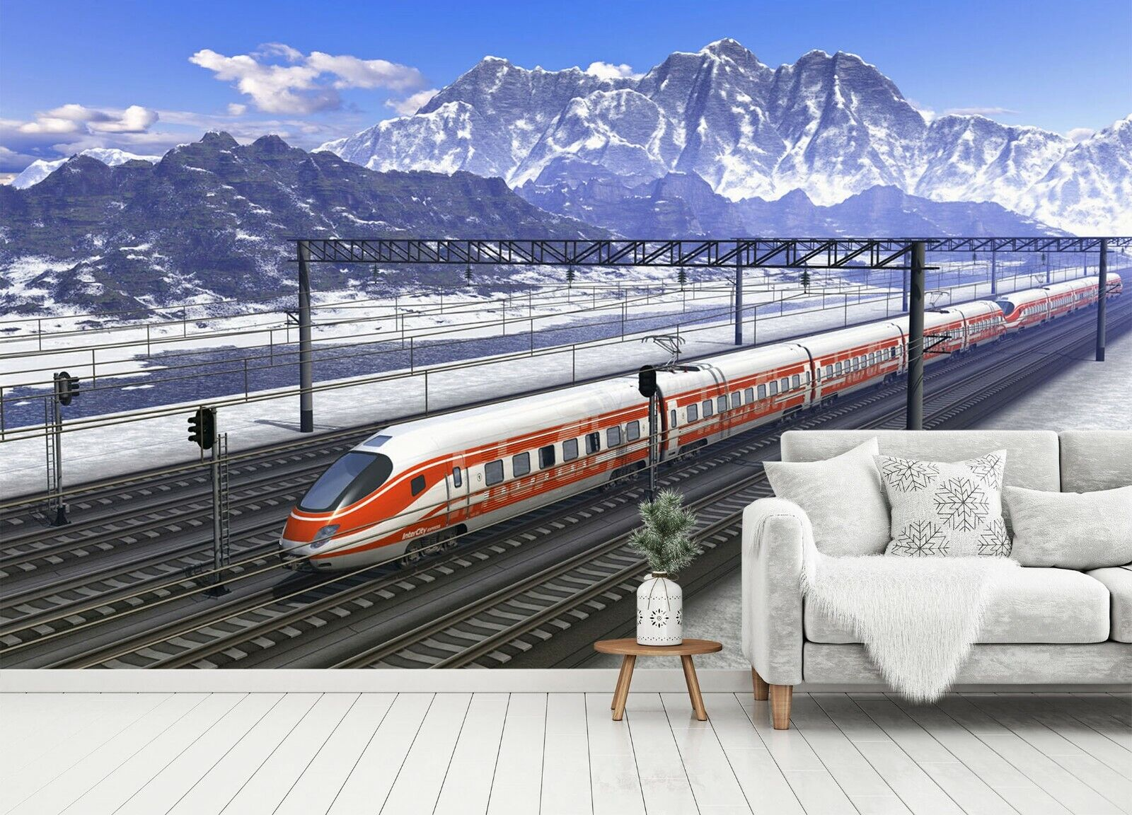 3D Weiß Train I198 Transport WandPapier Mural Sefl-adhesive Removable Angelia
