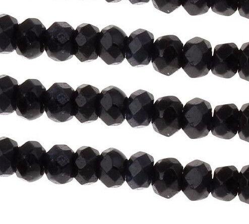 30 ACHAT PERLEN NATURAL SCHWARZ BLACK 4mm Rondell Facettiert Edelsteine G199