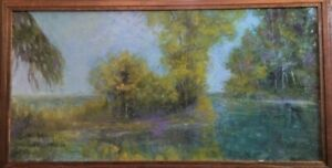 "Original Landscape, ""High Tide"" back bay,12x24,O/C, Artist Pearl Donaldson,"