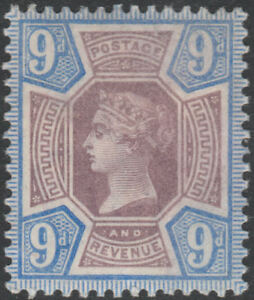1887-JUBILEE-SG209-9d-DULL-PURPLE-AND-BLUE-MINT-HINGED-K38-1