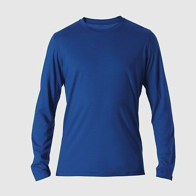 Reda Rewoolution Tomba-mens T-shirt Long Sleeve 140, Process Blue, Lana Merino-mostra Il Titolo Originale