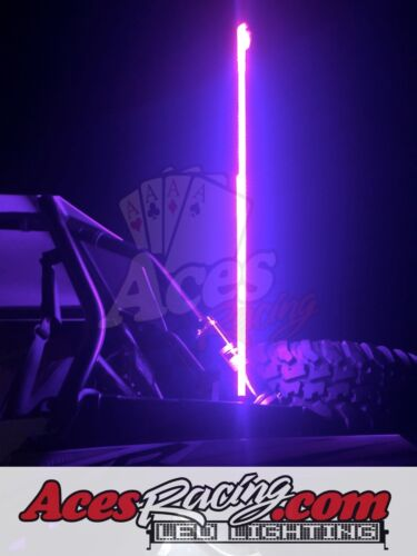 4ft RGB LED Lighted RZR Whip 20 Colors 200 Combination with American Flag PAIR