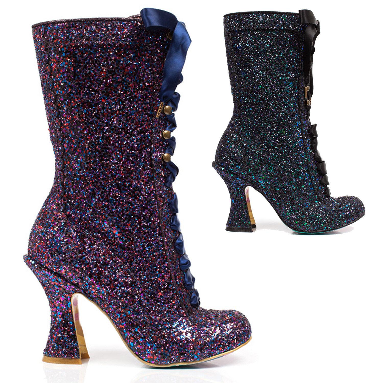 Irregular Choice negro negro negro púrpura brillo alto luna brilla Luis Xv Pantorrilla botas  promociones de descuento