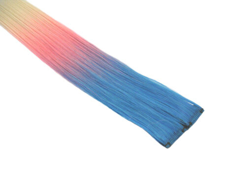 """CLIP-IN 12"""" HAIR EXTENSION TRANSITIONAL ROYAL BLUE PINK BLONDE EMO SCENE"""