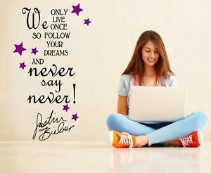 039-Never-say-Never-039-Justin-Bieber-Quote-Girls-Teenager-Room-Wall-Stickers