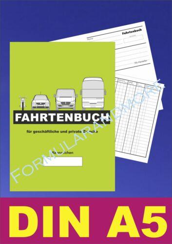 Großes DIN A5 FAHRTENBUCH,FAHRTENBÜCHER,Fahrtenheft,NEU DIN A5 Fahrtenbericht
