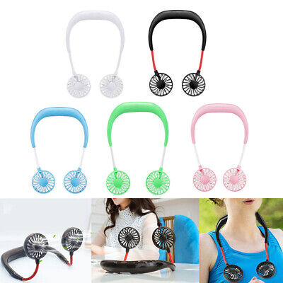 Summer Hands-Free Neck Band Hanging USB Rechargeable Dual Fan Mini Air Cooler US