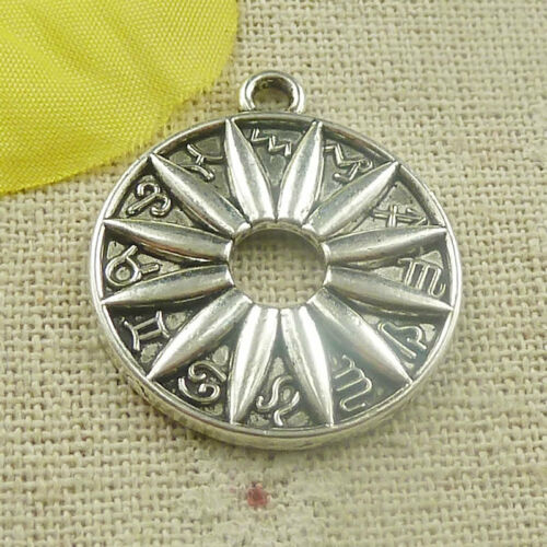 Free Ship 80 pieces tibetan silver round flower charms 29x25mm L-4831