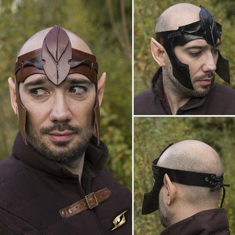 Elven Headwear with Cheek Protectors in Leather - Stage, Costume & Re-enactment
