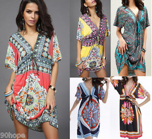 Women Loose Holiday V Neck Floral Midi Ladies Beach Party Dress Plus