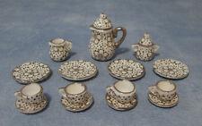 1:12 Scale Ceramic 11 Piece White /& Pink Floral Tea Set Tumdee Dolls House 2186