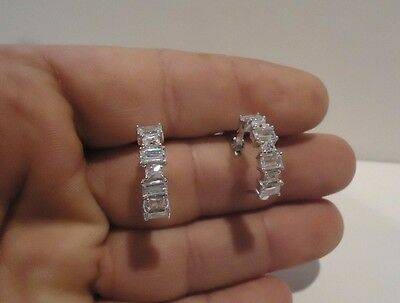 925 Sterling Silver Packing Of Nominated Brand Hoop Earrings W/ 5 Ct Baguette Lab Diamonds 21mm By 6m