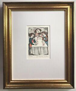 Pencil-Signed-Lithograph-By-Graciella-Rodo-Boulanger-Titled-Jeux-Des-Cartes