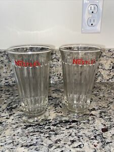 Vintage NESTLE'S Old Fashioned Pedestal Paned Soda Fountain Glass (2)