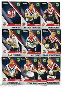 2017 NRL Traders Pearl Parallel Special ROOSTERS Team Set