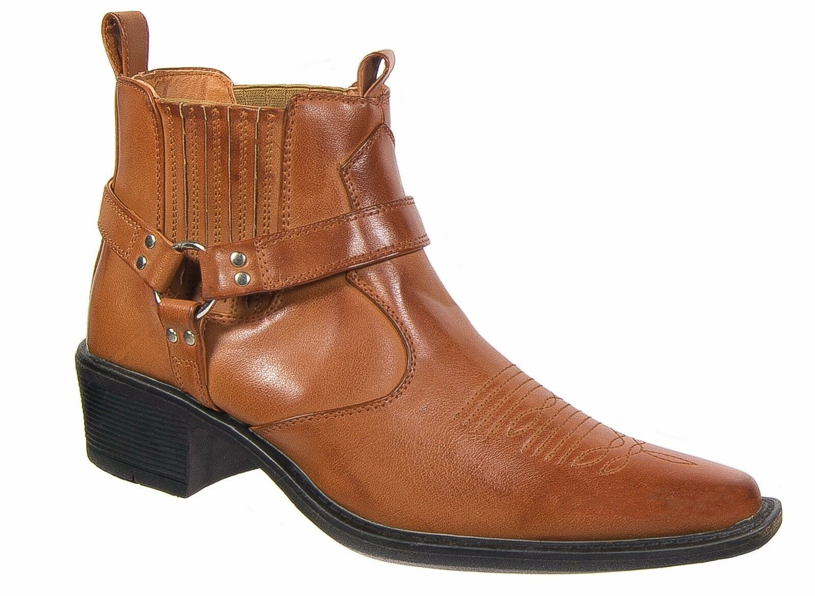 Mens US Brass Cowboy Ankle Boots Tan Brown Harness Sizes 7 to 12