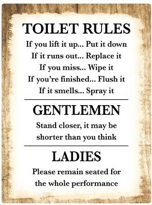 Toilet Rules Bathroom Decor Sticker Decal Sign Rustic Country Wood Funny Humor Ebay