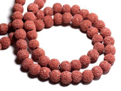 Perles de Pierre Fil 39cm 40pc env Lave Boules 10mm Rouge Rose Tomette