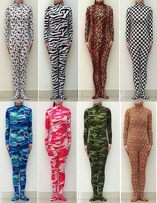 Unisex Spandex Zentai costume suit Camo Patterns Animals Unitard No Hood /& Hands