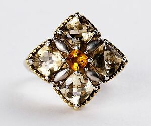 Lady-039-s-Lagos-034-Caviar-034-18K-Yellow-Gold-amp-Sterling-Silver-Citrine-Ring