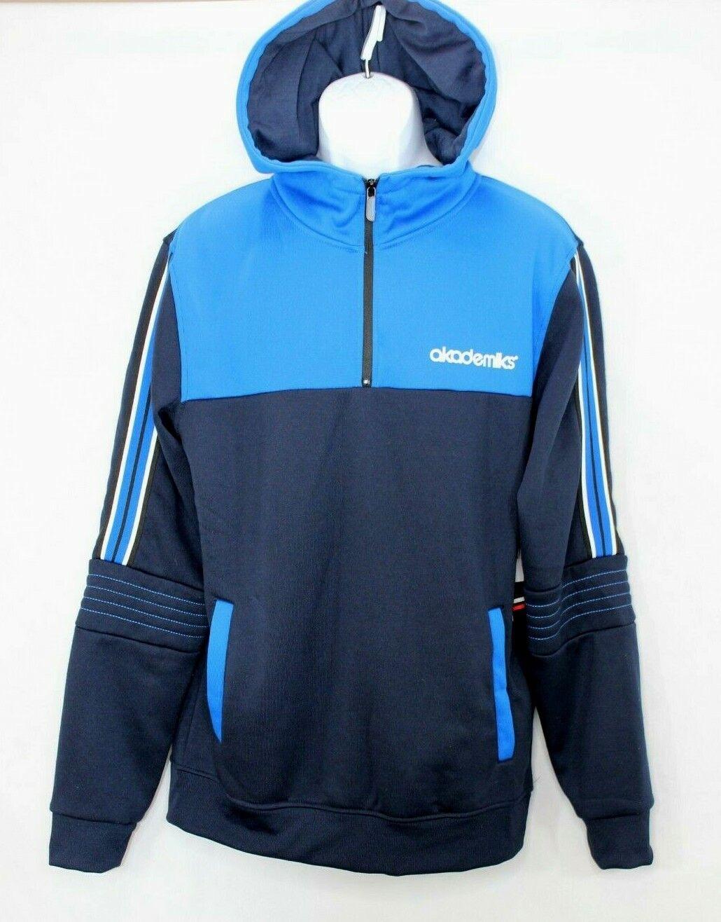 AKADEMIKS Hoodie Fleece 1/4 Zip Navy Blue Men's Size Large NWT