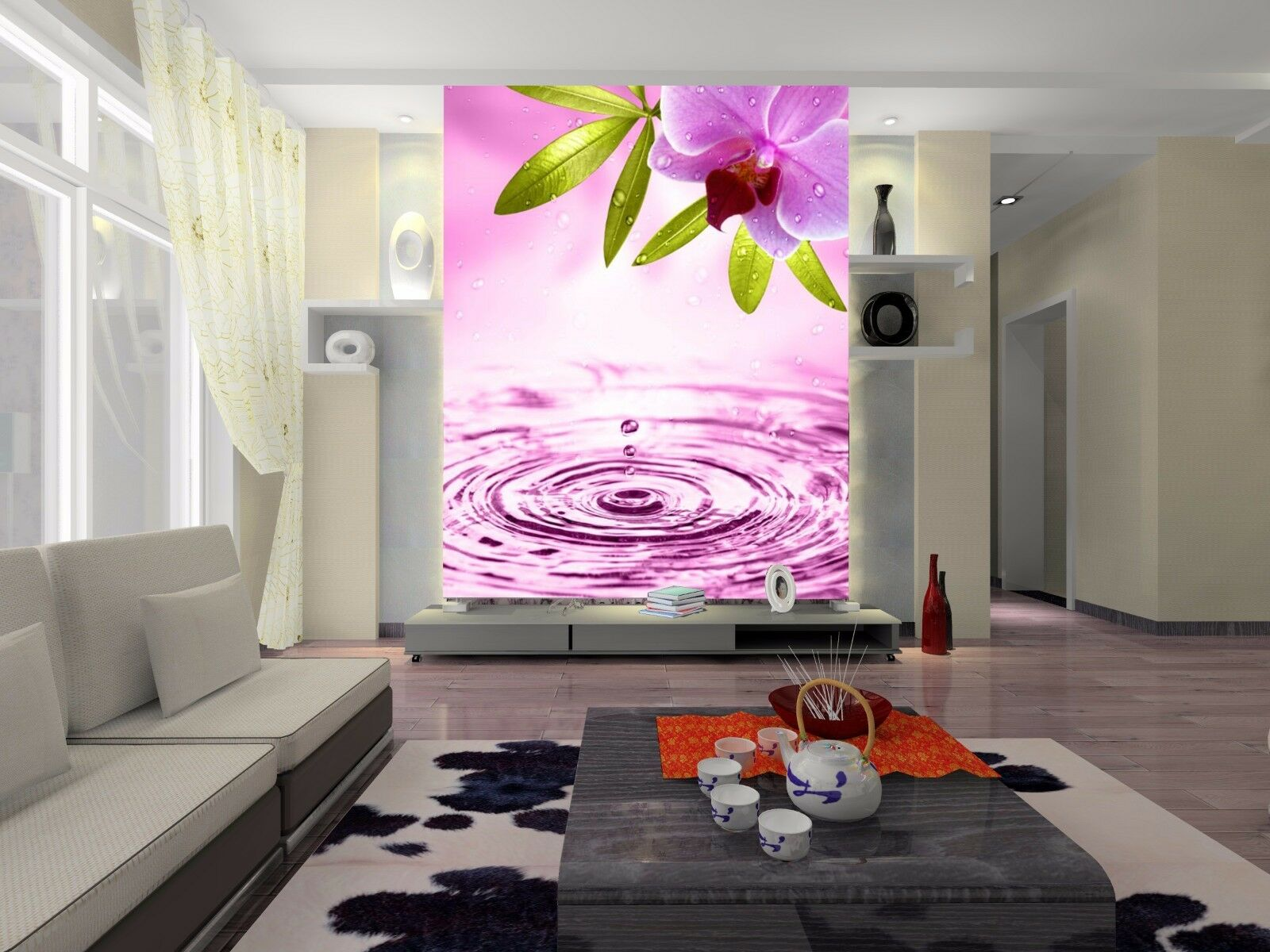 3D Fresh Bright Flowers Wall Paper wall Print Decal Wall Deco Indoor wall Mural