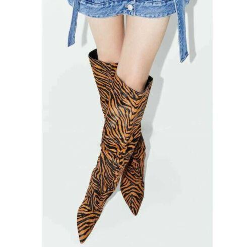 Zara Woman Zebra Imprimé Animal 100/% vache PELLETERIE Chaton Talon Slouch boots 7000//001