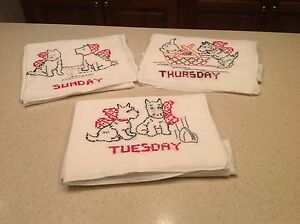 Vintage Embroidered Dish Towels Scottie Dogs Days Of Week Sun Thurs Tues CLEAN