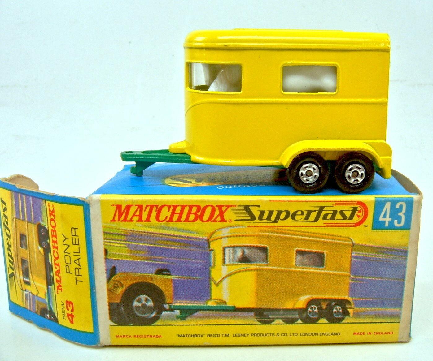 Matchbox Superfast Nr.43A Pony Trailer gelb hellgrüne Bpl. top in Box  | Moderate Kosten