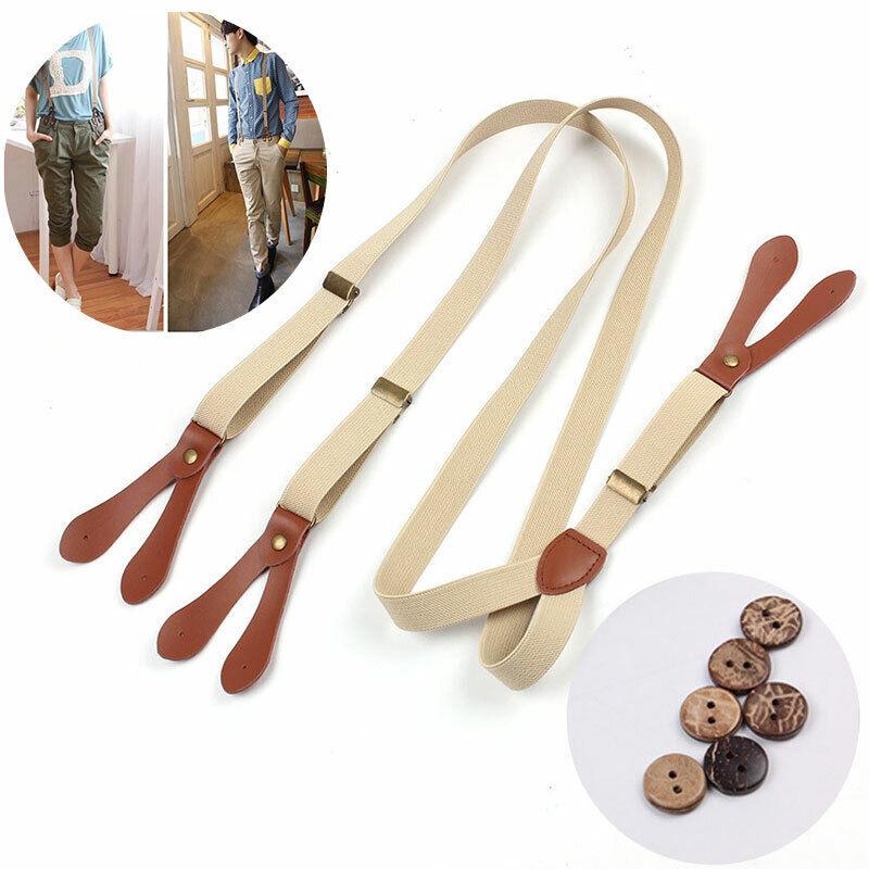 Hosenträger mit Knopfloch 6 Knöpfe Echt-Lederpatten für Herren Damen Hosen