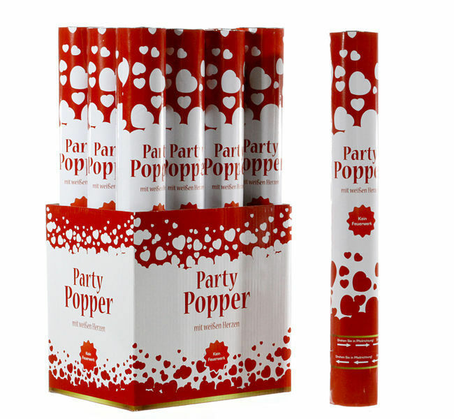 12x Party Popper 39cm-Heart-Confetti Cannon 12er Set Confetti Cannon Shooter