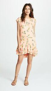 Joie-Women-039-s-Pink-Floral-Coreen-Short-Sleeve-Silk-Dress-NWT