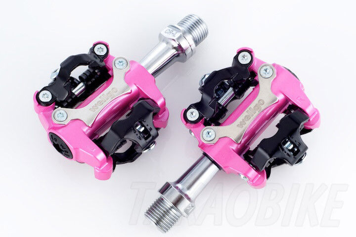 Wellgo M250 Clipless Bike Pedals Shimano SPD Compatible with 98A Cleat - Pink