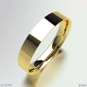 9ct Yellow Gold Wedding rings 4mm Width D Shaped Band Fully Hallmarked 375