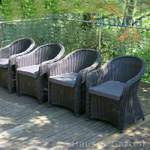 hochwertiger polyrattan sessel 4er set rundfaser rattan gartenm bel ebay. Black Bedroom Furniture Sets. Home Design Ideas