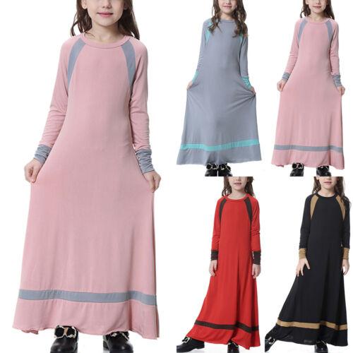 Kids Girls Islamic Muslim Maxi Dress Abaya Kaftan Long Sleeve Holiday Sun Dress