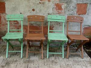 Quattro sedie da osteria anni pieghevoli legno verniciato