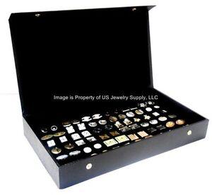 cufflink storage box Black branded cufflink display box