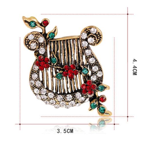 Christmas Crystal Enamel Brooch Pin Harp Lute Collar Rhinestone Brooch JewelryBB