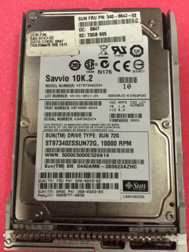 Sun 540-6643 390-0323 73GB 10K SAS NEBS Hard Drive w// Nemo XRA-SS2ND-73G10K