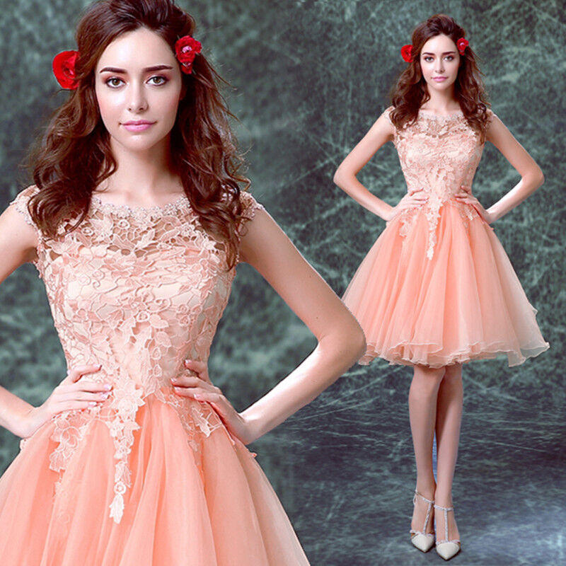 Fashion Short Orange pink Formal Party Prom Gown Bridesmaid Wedding Dress L624