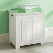 Item 3 White Wooded Laundry Storage Chest Bathroom Cabinet With Lid Basket New
