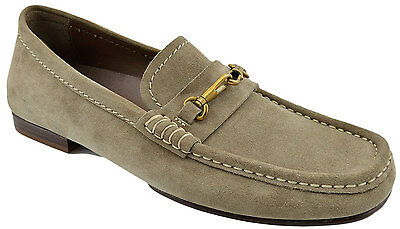 $525 YVES SAINT LAURENT Gray Beige Suede Leather YSL Loafers Dress Men Shoes