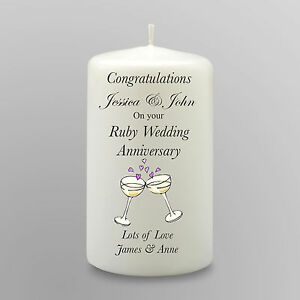 Ruby Wedding Anniversary Gift For Parents Uk : ... about Personalised Ruby Wedding Anniversary Candle 40th Gift Keepsake