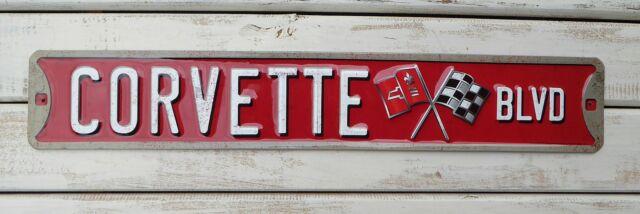 CORVETTE BLVD Sting Ray Chevy Garage Shop Embossed ...