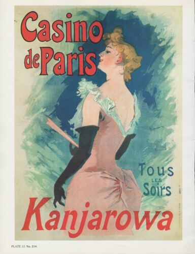 "1980 Vintage /""KANJAROWA/"" CASINO DE PARIS CHERET MINI POSTER Art Plate Lithograph"