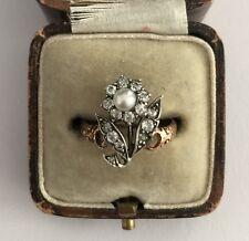 A Wonderful 1.5ct Old Cut Diamond Flower & Pearl Ring Circa 1800's