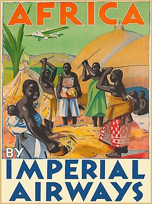 Africa By Imperial Airways Vintage Travel Airline Advertisement Art Poster Print